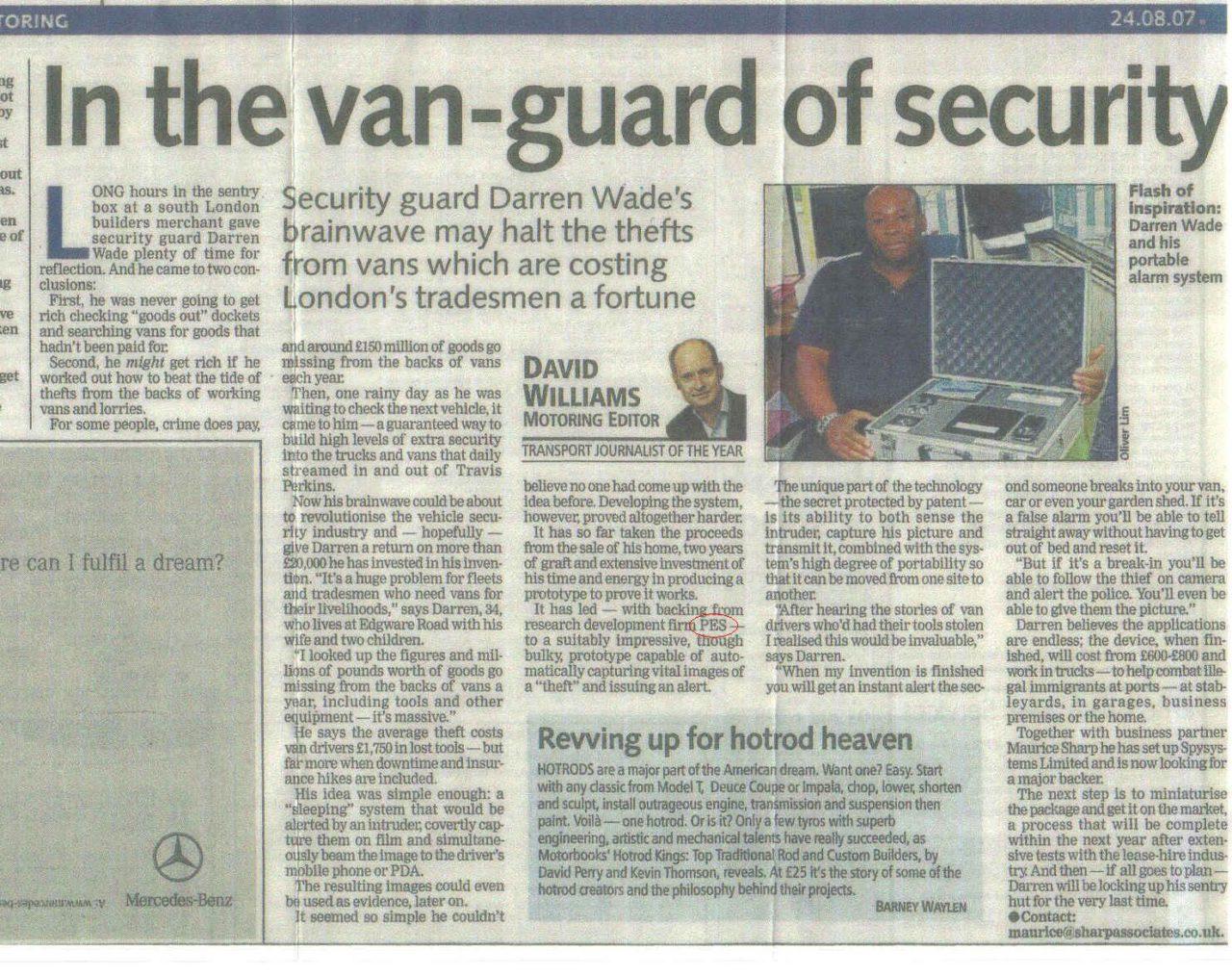 RoadSpy Evening Standard Article 24 8 07